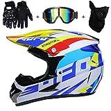 AMITD Impresión Blanca UFO Casco Motocross Niño ECE Homologado - Casco de Moto Infantil Cross Integral Enduro Infantil para Mujer Hombre Adultos, L