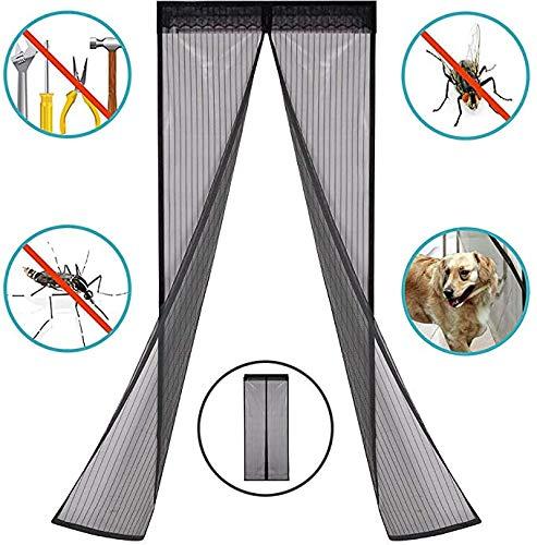 BBZZ Elektromagnetische afscherming deur Magnetische Vliegenscherm Deur Insect Mesh Gordijn Volledige Frame Klittenband Eenvoudige installatie voor Vensterschermen, Binnendeuren, zwart
