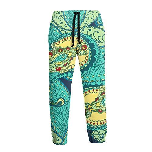 Elementos Florales de Colores de Paisley en Pantalones Deportivos Verdes para Hombres Pantalones de Chándal Suaves con Bolsillos Pantalones Jogger para Entrenamiento en El Gimnasio XL