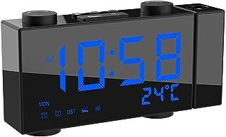 6 inch Digital FM Projection Radio Alarm Clock 4 Brightness Adjustment 3 Time Displays Dual Alarm Clock with Snooze Thermo...