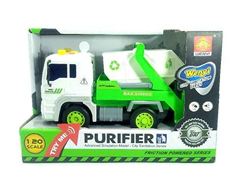 Toy Camión de fricción, camión volquete purificador en Miniatura, se Enciende y Hace Ruido, Escala 1:20.
