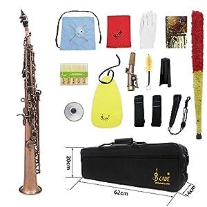 ammoon LADE WSS-899 Professionelle Red Bronze Muster Bb Sopransaxophon Saxophon Holzblasinstrument Abalone Shell Key Carve Muster mit Fall Handschuhe Reinigungstuch Straps Fettbürste