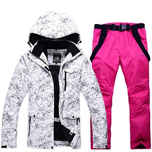 Imperméable Habit de Neige Jeu Costume de Ski, Chaleureuse Vestes de Ski Capuche Montagne Manteau d'Hiver Coupe-Vent Imperméable Combinaison de Ski Bib-G S