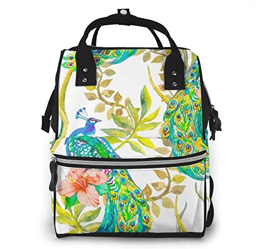 Diaper Bag Backpack Travel Bag Large Multifunction Waterproof Beautiful Peacock Pattern Tropical Seamless Backgrounds Nature Gift Ideas Stylish and Durable Nappy Bag for Baby Care School Backpack