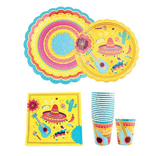 Fiesta Party Supplies Pack Serves 16 - Includes Large Paper Plates, Small Plates, Cups, and Napkins | Birthday, Taco Party, Mexican Party, Cinco de Mayo