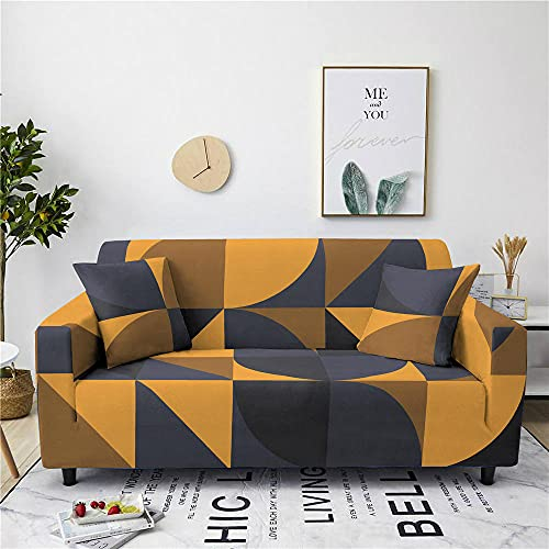 Funda Sofa 4 Plazas Chaise Longue Triángulo Amarillo Fundas para Sofa con Diseño Universal,Cubre Sofa Ajustables,Fundas Sofa Elasticas,Funda de Sofa Chaise Longue,Protector Cubierta para Sofá
