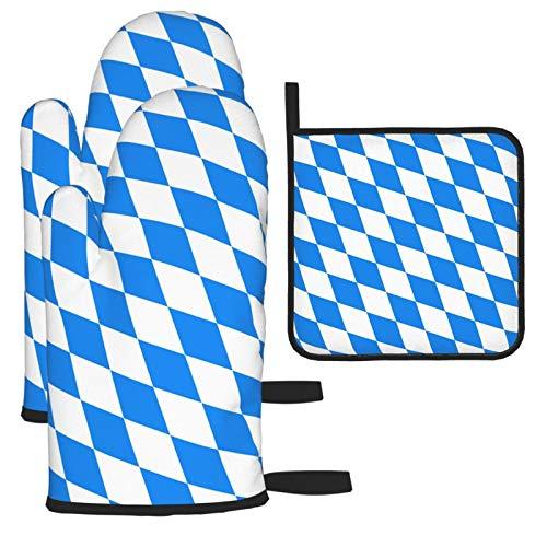 Küchenofenhandschuhe mit bayerischer Flagge, Mikrowellenhandschuh, extrem hitzebeständige Handschuhe für Lebensmittel, Grillen, Braten, isolierte, haltbare Handschuhe für Frauen Männer