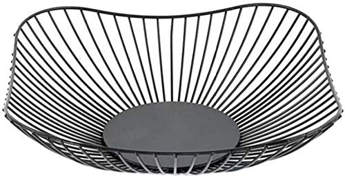 Fruit Bowl Modern Countertop Wire Fruit Storage Basket Dish Rack Kitchen Home Office Creative Large Square Black Table Center Bread Vegetables And Household Goods Uptodate