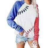 ATACT Baseball Pullover Tops for Women Raglan Long Sleeve Sweatshirts Casual Crew Neck Blouse, A-white, Medium