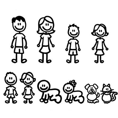 GreensTion-S Kawaii Divertido Miembro de la Familia Decorativo Reflectante Auto calcomanía Etiqueta engomada del Coche de Dibujos Animados Parachoques del Cuerpo del Coche calcomanía Suministros