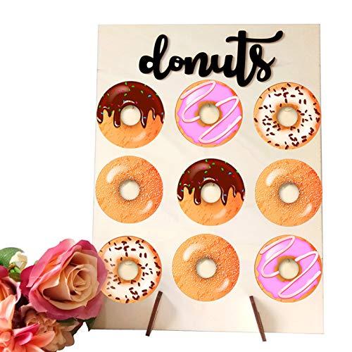 Donut Wall, Candy Soporte de Donuts Madera Donut Soporte de Pared Donut Holder Wedding Party Decoration Suministros de cumpleaños, Mesa Dulce Accesorios