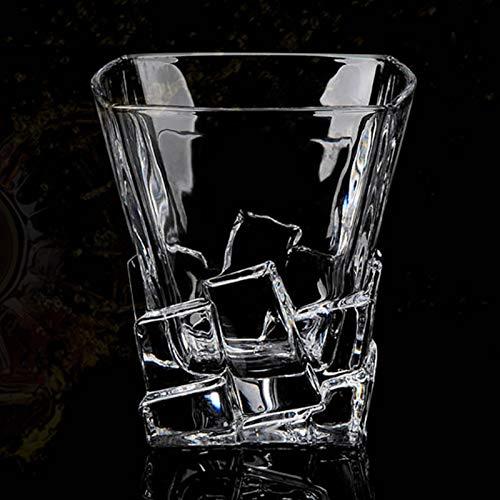 Copas de whisky de cristal transparente y borde dorado doble viejo licor vodka bourbon Scotch Cocktail Vodka Scotch Vaso de bar vasos