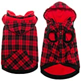 Plaid Dog Sweater Winter Clothes - Warm Fleece Dog Hoodie Cold Weather Coats Windproof Pet Jackets with Detchable Hat and Pocket for Medium Large Dogs