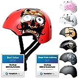 SkullCap® BMX & Casco per Skater Casco - Bicicletta & Monopattino Elettrico, Design: Red Ocean, Taglia: 55-58 cm