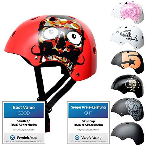 Skullcap® Skaterhelm Kinder Rot Red Ocean - Fahrradhelm Jungen ab 6 Jahre Größe 53-55 cm - Scoot and Ride Helmet Kids - Skater Helm für BMX Scooter Inliner Fahrrad Skateboard Laufrad