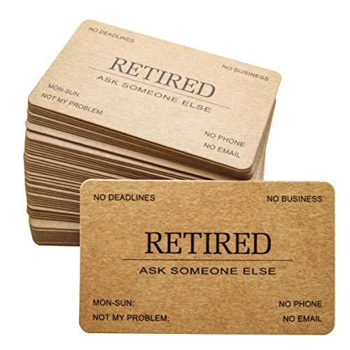RXBC2011 Retired Business Cards Kraft paper Funny Retirement Gift (Pack of 50/No Case) For Retired Men, Women, Coworkers, Employees, Boss, Friend, Colleague