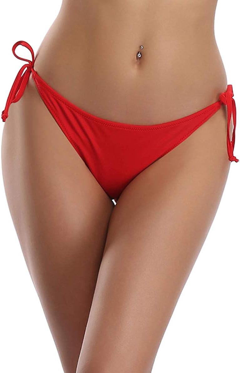 SHEKINI Women's Tie Side Bikini Bottom Ruched Back Brazilian Cheeky Swim Brief