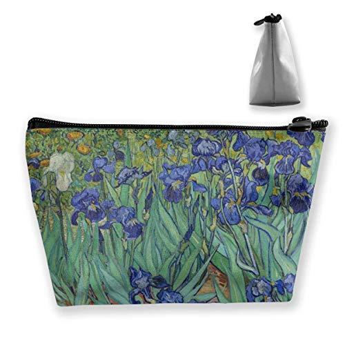 Trousse de maquillage de voyage multifonction – Fleurs bleues iris florales vintage trapézoïdale organiseur de maquillage, trousse de toilette