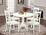 East West Furniture 5-Pc Dining Set Included a Round Dining Room Table and 4 Dining Chairs...