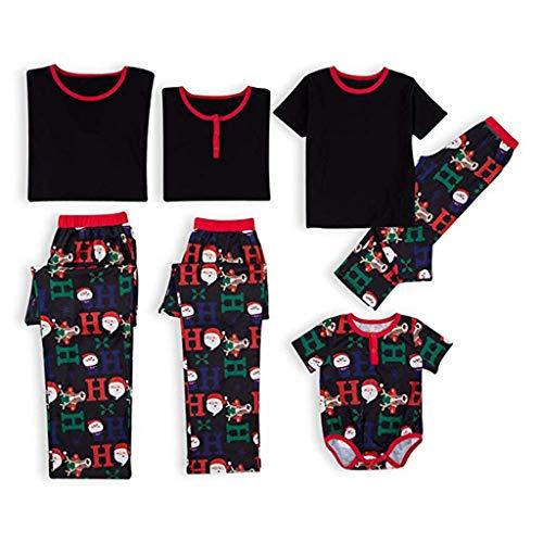 Writtian Weihnachts Schlafanzüge Familie Pyjamas Outfit Christmas Nachtwäsche Eltern Kind Pyjamas Set Hausanzug mit Hirsch Gedruckt Damen Herren Nachthemd Kinder Karierte Homewear