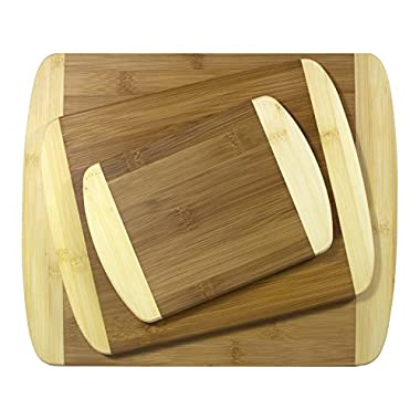 Totally Bamboo 3 Piece 2-Tone Bamboo Board Set, 1/2  Thick Bamboo Cutting & Serving Boards