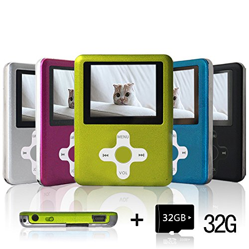 Lecmal Portable MP3/MP4 Player with 32GB Micro SD Card, Economic Multifunctional Music Player with Mini USB Port, MP3 Voice Recorder, Media Player Best Gift for Kids (Green+red)