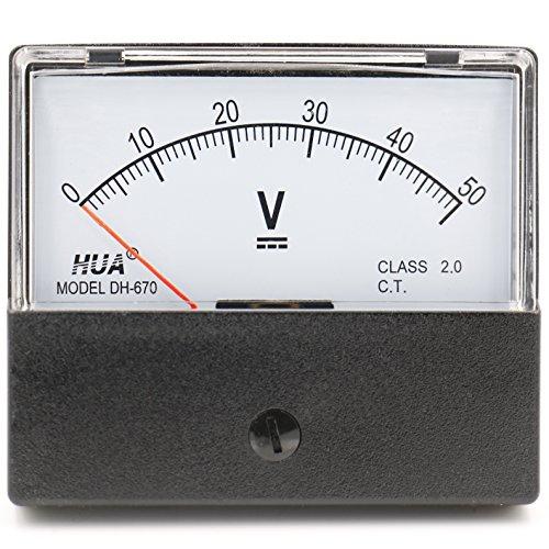 heschen rectangular voltímetro analógico Medidor de panel Volt Voltaje 670estilo DC 0–50V Clase 2.0