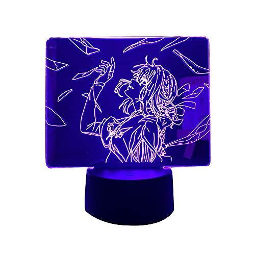 Anime luz LED violeta Evergarden para decoração de quarto, luz noturna, presente de aniversário, quarto de crianças, lâmpada de mesa 3D, mangá violeta Evergarden