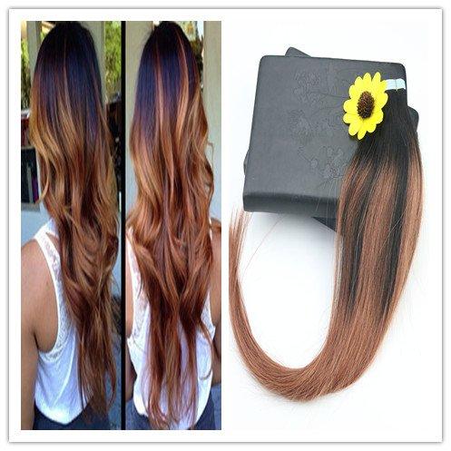 Evermagic Hair Extensions capillaires en bandes adhésives, cheveux naturels Remy, 20 extensions/50 g, chevelure lisse et soyeuse, 35 cm à 60 cm