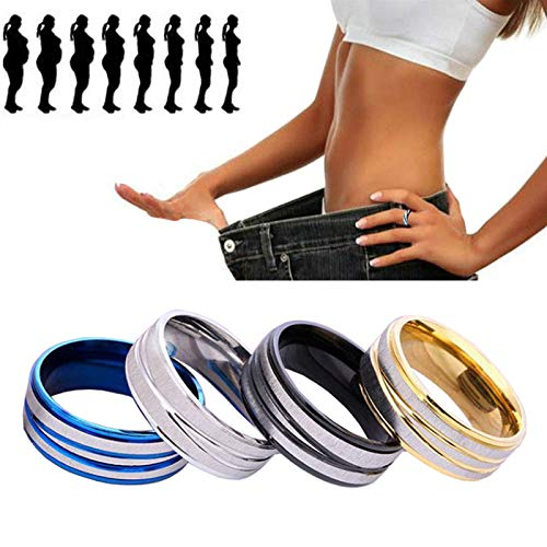 LONG-D 2 pieces Stainless steel Finger Ring Health Care Weight Loss Fat Burning Slimming Magnetic Ring Rhinestone Jewelry,gold,22mm