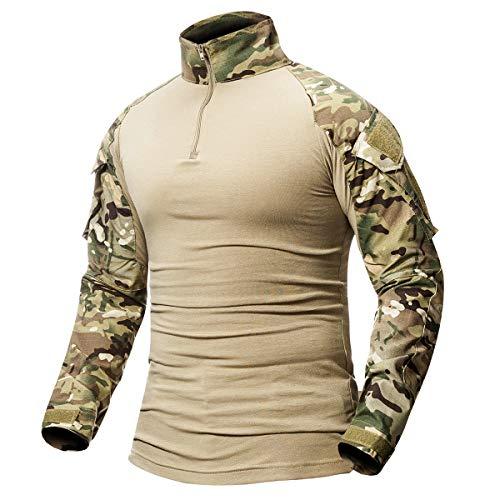 CARWORNIC Men's Tactical Combat Shirt Long Sleeve Camo Airsoft Army Military T Shirt