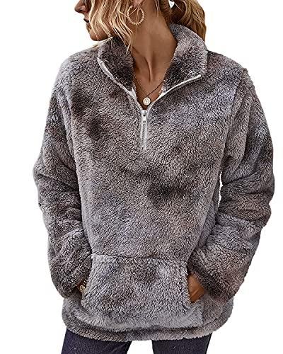 Livacasa Damska bluza zimowa, ciepła, z kapturem, oversize, miękka, dla dziewcząt, pluszowa, z długim rękawem, z dużą kieszenią, 12 kolorów, Tiedye Grau, L