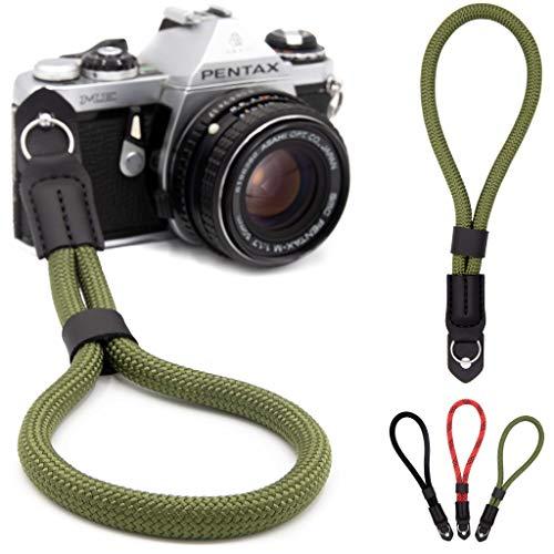 Lens-Aid - Correa de muñeca para cámara – Muñequera para cámaras, Aspecto en Cuerda, Ideal para Canon, Nikon, Sony, Fujifilm, Olympus, Leica (Verde)