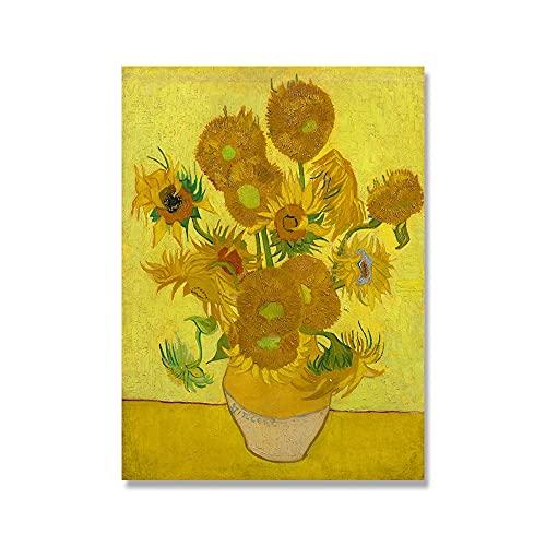 Arte de pared de flor de almendro y girasol de Van Gogh, póster nórdico y decoración de pared impresa, lienzo sin marco A4 70x100cm