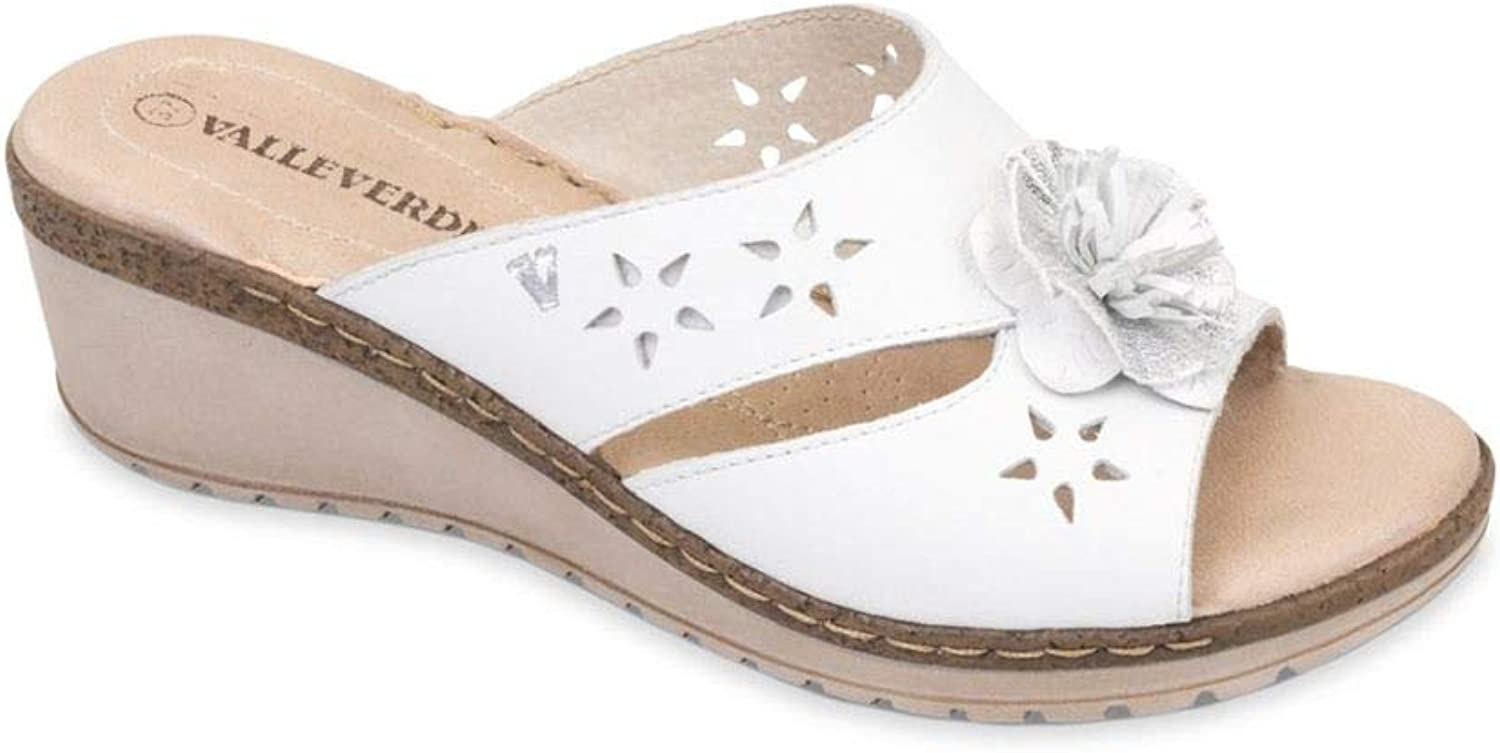 Vallegreen 16082 Sandal Wedge shoes Woman White Leather