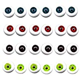 UUsave 12 Pairs of 4 Colors 22mm Half Round Realistic Acrylic Eyes for Halloween Props, Masks, Dolls or Bears Craft Plastic Eyeballs DIY Toys Accessories (22mm)