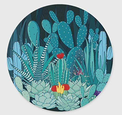 Cactus and Flower Non-Slip Rubber Round Mouse Pad,Design Round Gaming Mouse Pad (7.87 inch x 7.87 inch)