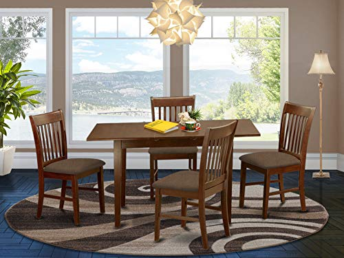 East West Furniture NOFK5-MAH-C 5-Piece Dining Set – 4 Dining Room Chairs and a Wooden Table - Rectangular Table Top – Slatted Back and Linen Fabric Seat (Mahogany Finish)