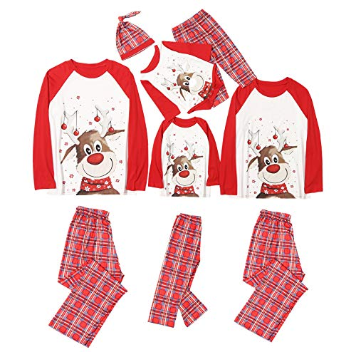 Family Christmas Pjs Matching Sets Women Men Reindeer Printed Christmas Matching Jammies for Adults Kids Baby Xmas Sleepwear (C- Red&Plaid, Baby/18-24 Months)