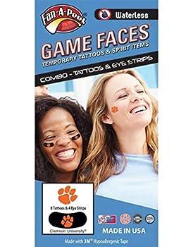 Clemson University Tigers – Waterless Peel & Stick Temporary Tattoos – 12-Piece Combo – 8 Orange Tiger Paw Logo Spirit Tattoos & 4 Orange Tiger Paw on Black Eye Strips