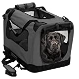2PET Foldable Dog Crate - Soft, Easy to Fold & Carry Dog Crate for Indoor & Outdoor Use - Comfy Dog Home & Dog Travel Crate - Strong Steel Frame, Washable Fabric Cover - Large, Grizzle Grey