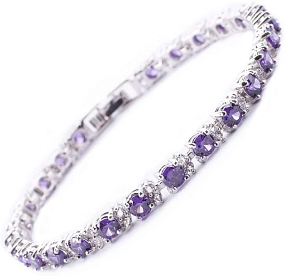 Round Multi-Color Ranking TOP3 CZ Birthstone White Gold Tennis Max 48% OFF Plated Bracele