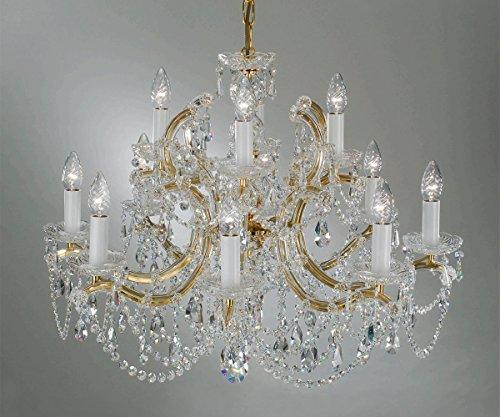 Maria Theresia Kronleuchter vergoldet mit 24 Karat und Kristallglas Behang