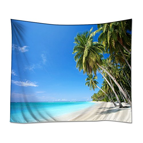 YISUMEI 150x230 cm Tapisserie Wandteppich Wandbehang Tabelle Vorhang Wand Decor Tisch Couch Bezug Picknick Decke Beach Überwurf Palme Strand Blauer Himmel