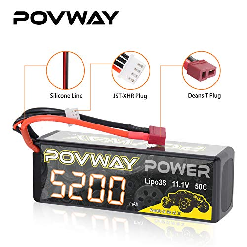 Lipo Battery POVWAY 5200mAh 3S RC Battery 11.1V 50C with Deans T Plug for RC Cars, RC Truck,Helicopter, Airplane
