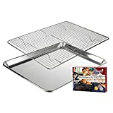 "KITCHENATICS Aluminum Jelly Roll Cookie Pan Tray with 304 Stainless Steel Cooling, Baking & Roasting Wire Rack Set- 10.6' x 15.6"" Heavy Duty Quality, Oven Safe, Easy Clean, Nontoxic"