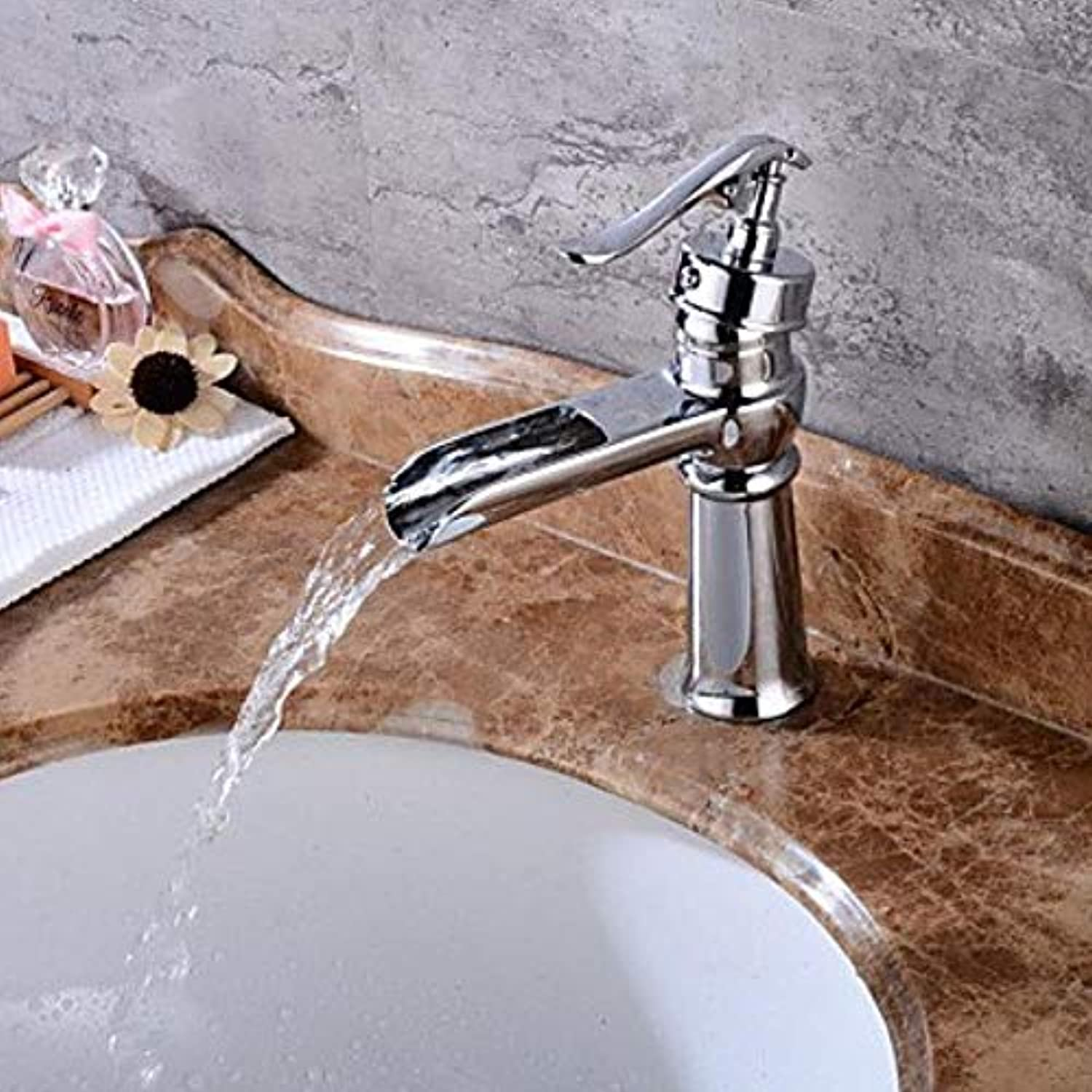 XSRKHomeCenterset Waterfall withCeramic Valve One Hole forChrome, Bathroom Sink Faucet