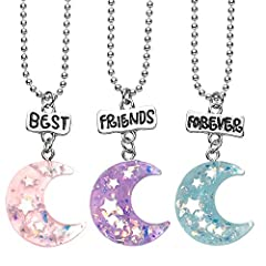 "Includes 3 moon pendants with engraved BFF pendant on adjustable popcorn chain Measures: 13.5"" (Adjustable Chains) Color: Pink, Purple, Blue Comes with 2ps single card packing, as a perfect for friends gifts, birthday party gifts, kids pretend or oth..."