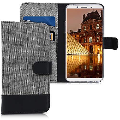 kwmobile Wallet Hülle kompatibel mit Oppo F5 / F5 Youth - Hülle Kunstleder mit Kartenfächern Stand in Grau Schwarz