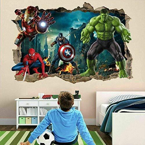 QAW Pegatinas de pared Superhéroes personalizado vinilo pared calcomanía pelar y pegar papel tapiz